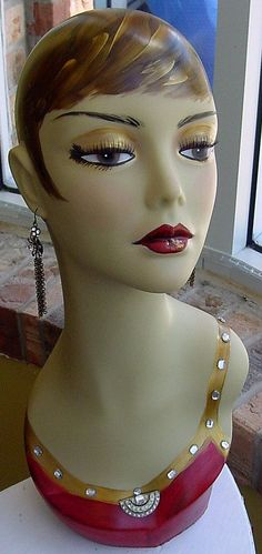 $169.99. Hand Painted Flapper Style Mannequin....embellished from site I have saved??