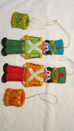 4 Felt and Sequin Christmas Tree Ornament by HornerLanding