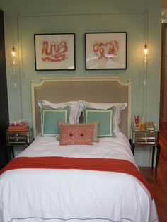 Blue and orange bedroom. More like this..