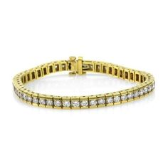 Pre-owned 18K Yellow Gold Bar Set 6.39ct. Diamond Tennis Bracelet ($11,340) ❤ liked on Polyvore featuring jewelry, bracelets, yellow gold jewelry, gold jewelry, 18 karat gold jewelry, gold diamond bangles and 18k bangle