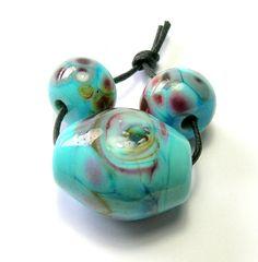 Blue Swirl Lampwork Bead Set -  Handmade Lampwork Beads - Pale Blue Handmade Beads by amazingbeads on Etsy