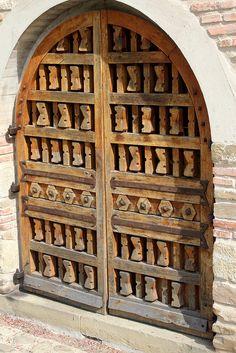Door at Mănăstirea Suceviţa - Suceviţa, Jud. Suceava, Romania by Wayne W G Entrance Doors, Doorway, Gothic Elements, Mural Painting, Door Knockers, Exterior Paint, Windows And Doors, Gate, Carving