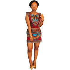 Daxin Women Summer Sleeveless Traditional African Print Bodycon Short Mini Dress ** Find out more about the great product at the image link.