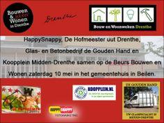 HappySnappy, De Hofmeester uut Drenthe, Glas- en Betonbedrijf de Gouden Hand en Koopplein Midden-Drenthe staan samen op de Beurs Bouwen en Wonen zaterdag 10 mei in het gemeentehuis in Beilen.  http://koopplein.nl/middendrenthe/3515800/4-bedrijven-uit-beilen-samen-op-beurs-bouwen-en-wonen.html