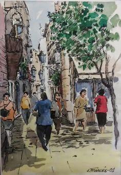 Carrers de Barcelona. Joaquim Francés -ink & watercolor-