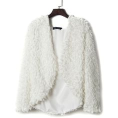 Choies White Hooded Neck Fluffy Faux Fur Coat (7.280 HUF) ❤ liked on Polyvore featuring outerwear, coats, jackets, white, imitation fur coats, white fake fur coat, fake fur coats, faux fur coats and white coat