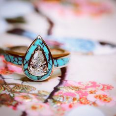 Start your happily ever after on a sweet note with this unique sapphires engagement ring set from Camellia Jewelry. Scrupulously handmade in fine detail, it is a unique leaf ring set that will show her how much you care without breaking the bank. Turquoise Wedding Rings, Turquoise Rings, Wedding Jewelry, Rose Gold Engagement Ring, Diamond Wedding Rings, Engagement Ring Settings, Diamond Rings, Turquoise Engagement Rings, Western Engagement Rings
