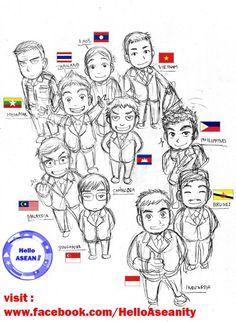 Southeast Asian Cartoon, ASEAN, Indonesia, Malaysia, Singapore, Philippines, Cambodia, Brunei, Vietnam, Myanmar, Thailand, Laos, Indonesia