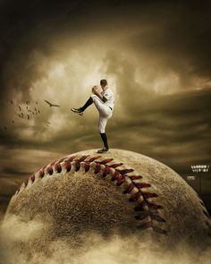Editorial portrait/montage about the sport of baseball and pitching in a powerful and surreal setting.