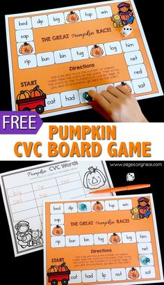 Add some fun to your fall literacy centers with this pumpkin themed CVC board game! Perfect for phonics and word work time. Great addition to your preschool, kindergarten, and first grade learning activities.
