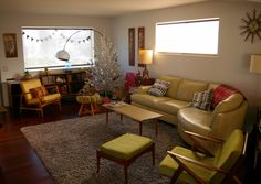 Yellow and green MCM living room with Christmas tree Living Area, Living Room, Living Spaces, Bedroom Layouts, Mid Century Modern Design, My Dream Home, Home And Living, Mid-century Modern, Diy Home Decor
