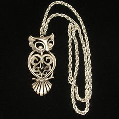 Owl Pendant Necklace Vintage by Torino Gold Necklace, Pendant Necklace, Owl Pendant, Bird Jewelry, Pewter, Chain, Metal, Silver, Vintage
