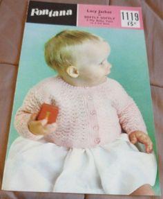 Baby Lacy Cardigan vintage knitting pattern 3 ply yarn 1st & 2nd size #Fontana