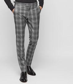 Russell Slim Tailored Check Trousers Tweed Trousers, Checked Trousers, Mens Dress Pants, Men Dress, Reiss, Pajama Pants, Hipster, Pajamas, Slim