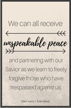 Forgiveness will bring us peace. Sign up for free Spiritual Thoughts sent weekly!