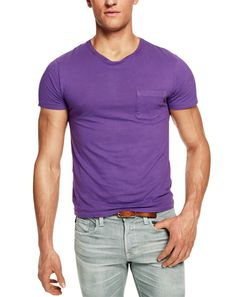 he Pocket Tee // Not just any purple: The dye is rich and inky, and the tee will break in uniquely, like good denim. // Ralph Lauren Black Label Denim #GQ #mensfashion