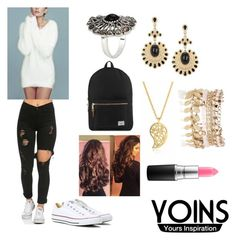 """""""Yoins Outfit #3"""" by jadahoran123 ❤ liked on Polyvore featuring Converse, Herschel Supply Co., Sonal Bhaskaran, River Island and MAC Cosmetics"""