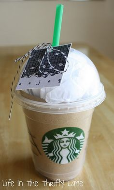 A fun way to give a starbucks giftcard. An extra SB cup, brown construction paper and some white tissue paper. Stick the GC inside!