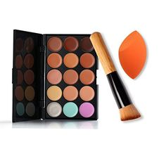 Pure Vie Pro 1 Pcs Make Up Brushes  1 Sponge Puff  15 Colors Cream Concealer Camouflage Makeup Palette Contouring Kit for Salon and Daily Use * Be sure to check out this awesome product.