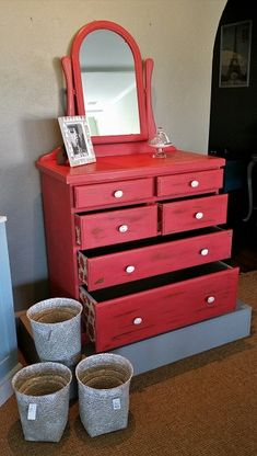 For Sale $495 at Shabby Duck Studio #Busselton   #Shabby Chic red large chest of drawers. More photos in this section