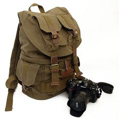 BACKPACK Camera Safari Bag shoulders canvas with cowhide backpack - Medium Padded Camera Insert - Hand Crafted -F2001