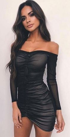 #spring #outfits Black Off The Shoulder 'Love Rush' Dress