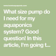 What size pump do I need for my aquaponics system? In this article, I'm going to teach you how you can select the right pump for your aquaponics system.