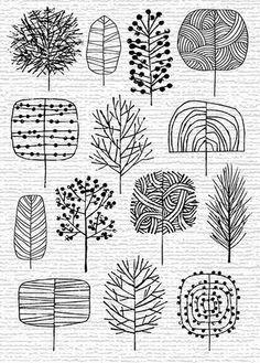 dot leaf tree drawing - Google Search