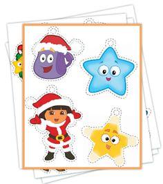 FREE Easy Printable Dora Christmas Ornaments - Jinxy Kids