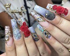Amazing nail art made using tones products glitter nails, nails, bling nails, Fabulous Nails, Gorgeous Nails, Pretty Nails, Bling Nails, Glitter Nails, Get Nails, Hair And Nails, Eagle Talon, Seasonal Nails