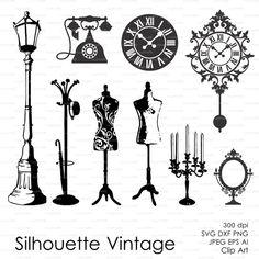 Vintage Silhouette Lantern Clock Dressmaker Dummy Phone (eps, Svg, Dxf, Ai, Png)…