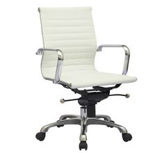 Modern Design White Synthetic Leather Ribbed Mid Back Office Computer Desk Chair