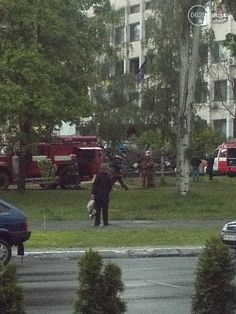 Fire department near city council in mariupol