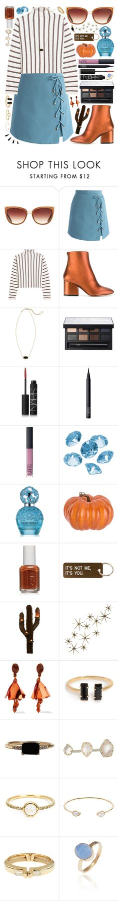 """""""{ocean blue eyes, looking in mine}"""" by kk-purpleprincess ❤ liked on Polyvore featuring Barton Perreira, Chicwish, Maje, Salvatore Ferragamo, Kendra Scott, NARS Cosmetics, Blue La Rue, Marc Jacobs, Essie and Various Projects"""