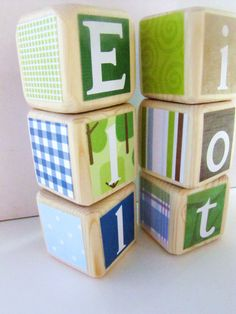Baby Shower Decoration Nursery Decor. Green Blue. Jill McDonald Adorable Dinos. wood baby blocks. photography prop. $22.00, via Etsy.   Plan to order....just as soon as we choose names!