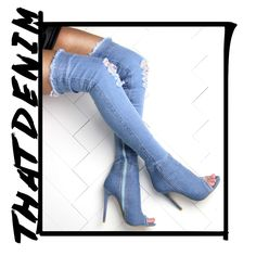 9b1aaf84ed3 Knee high distressed denim boots outfit style. Shop more colours at Shuzee .com