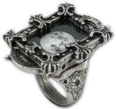 Moon Optimiser Ring    The phases of the moon are a diorama within a picture-window frame. Scientists have evidence that man is influenced by lunar stages. This romantic ring is handcrafted in England in fine pewter.