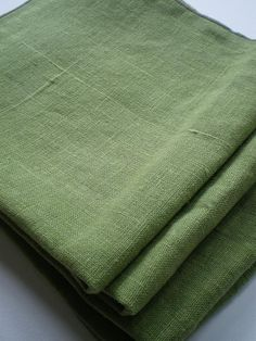 4 Moss Green Linen Napkins 14 inch cloth napkins by acornpapery, $20.00
