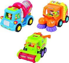 Friction Toys For Toddlers TG641 Set Of 3 Friction Powered Push  Go Cement Mixer Truck  Street Sweeper  Harvester Truck With Functions  Friction Car Toys By ThinkGizmos Trademark Protected -- Click image for more details.Note:It is affiliate link to Amazon.