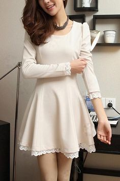 Elegant Round Neck Long Sleeve A-line Dress sweet Dress Outfits, Casual Dresses, Short Dresses, Fashion Dresses, Formal Dresses, Dresses 2016, Pretty Outfits, Pretty Dresses, Beautiful Dresses
