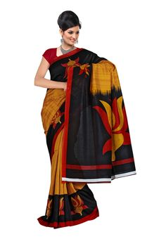 Digital #Silk Printed #Saree Get ready to glamorize yourself with this fantabulous collection from the house of Fabdeal. The saree comprises most appealing Silk fabric which is embossed in Black & Orange in color. One should drape this assortment to attain spotting persona in the occasion you step in. Available in 15% Discount @aimdeals