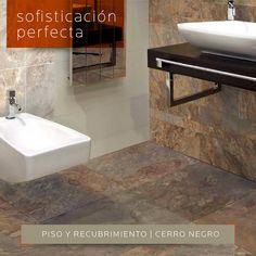 SOFISTICACIÓN PERFECTA | Ideal para reformar tu #baño con este #piso y #recubrimiento Cerro Negro Oxido y Oxido modular. Encuéntralo en DECERAMICA.COM