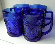 Gorgeous Set 4 Cobalt Blue Glass Mugs- Pineapple Design Raised Diamonds- Four Cobalt Glass Mugs- Cut Pressed Pattern- D Handle- Blue Kitchen