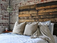 Ever see those amazing furniture pieces on Pinterest made out of wooden pallets? I detail how we made our own DIY pallet headboard here.