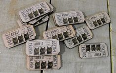 Wooden Victorian Tickets Admit One Cat by porkchopshow on Etsy, $6.95