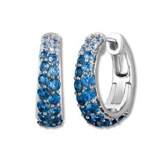 From the Le Vian® Denim Ombre® collection, these stunning hoop earrings for her feature delicious flavors of natural color sapphires that graduate in color from light to dark. The earrings are fashioned in sweet 14K Vanilla Gold® and secure with hinged backs.