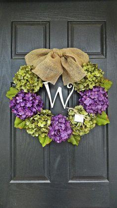 24 Year Round Green and Purple Hydrangea Wreath, Summer, Wreath, Fall Wreath, Spring Wreath, With Initial Monogram via Etsy