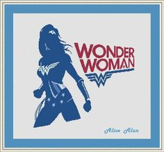 Cross Stitch Pattern Silhouette Wonder Woman comic superhero
