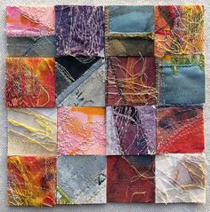 Tansy Hargan - Composite embroidery. Linen and cotton fabric, acrylic paint, pigment ink, silk and cotton threads