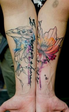 I'm not a huge fan of color tattoos, but I love the look of water color tattoos!